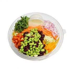 Mix Bean Salad with Vegetables and Tahini Dressings